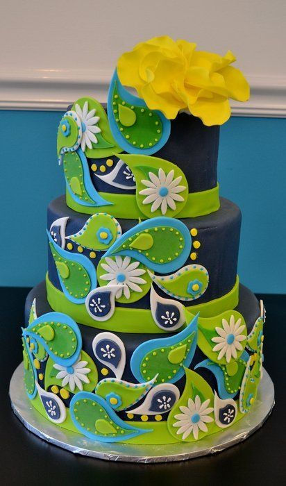 Blue and Green Paisley Cake - by Confections of a Cake Lover @ CakesDecor.com - cake decorating website