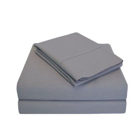 Superior Percale Cotton 300 Thread Count Solid Sheet Set, Gray