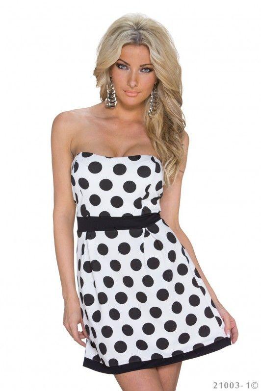 Wit strapless jurkje met zwarte stippen