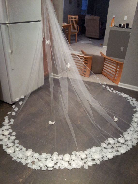 cathedral veil with butterflies and silk flowers,cathedral length veil,wedding veils ONLY ONE. $210.00, via Etsy.