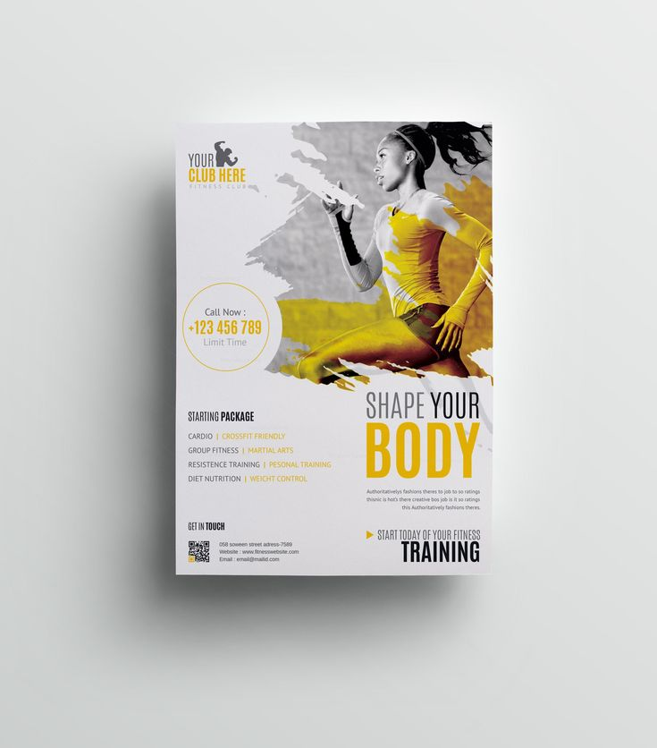 Fitness Club Professional Flyer Design Template 001511