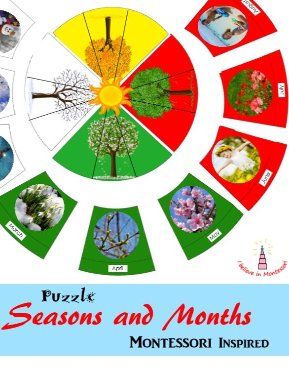 Seasons and months montessori inspired puzzle learning printables