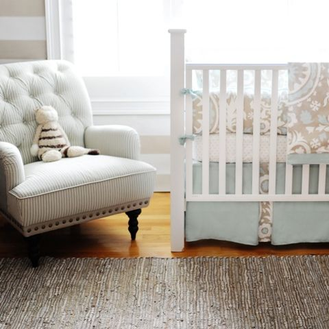 calming palette.  Soft blues + tufted chair