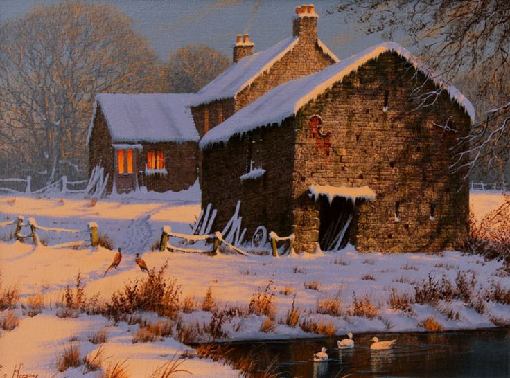 Winter Shadows. Original Oil Painting by Edward Hersey.