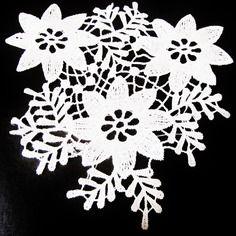 1 applique en dentelle blanche de venise fleurs à coudre 17 x 18 cm