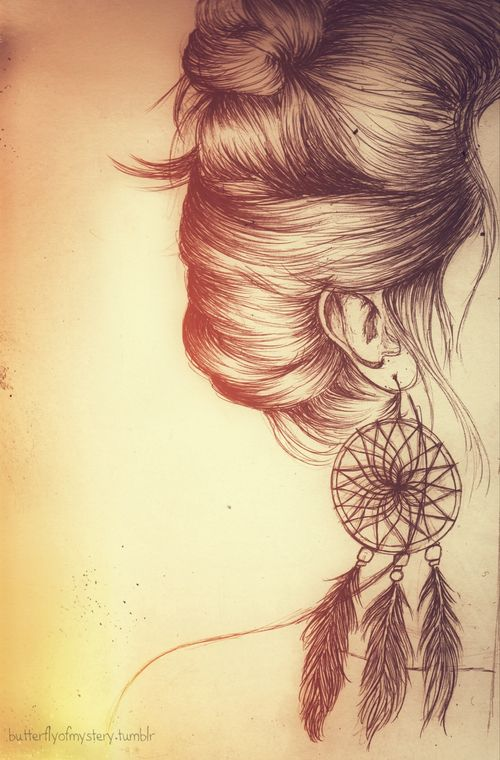 Beautiful Art And Paintings | Drawing Art Hair Girl Jewelry Vintage Orange Dream Catcher ...