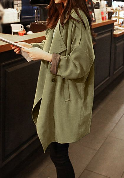 Slouchy Army Green Coat - Button Closure At Front