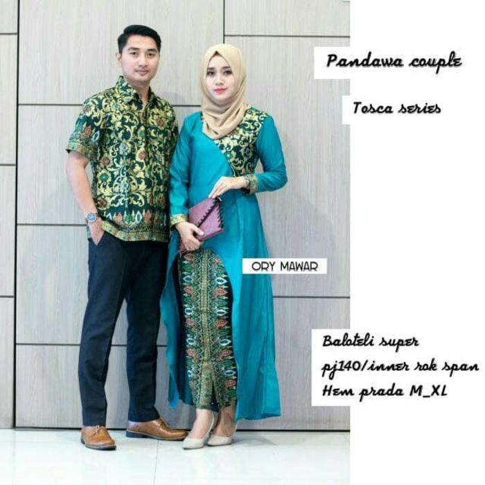Foto Setelan Model Baju Batik Couple Sarimbit Pandawa Warna Tosca