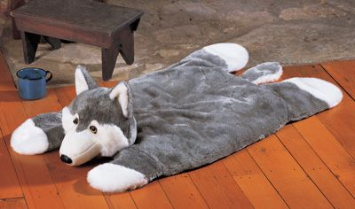 Plush Grey Wolf Cabin Theme Accent Rug