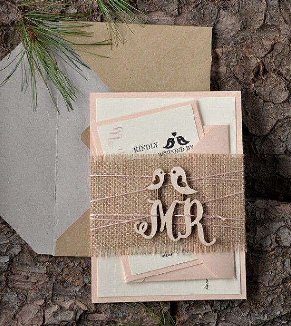 Hochzeitskarten 2016 Kollektion Rustikale Laser Ausschnitt Einladungskarten  Mit Jute Band Und Love Birds Hochzeitskarten 2016 Kollektion