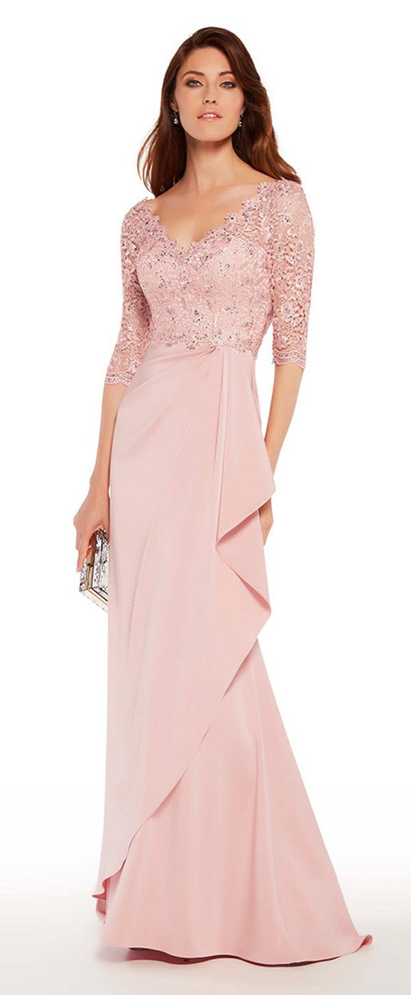 Sexy Acetate Satin V-neck Neckline 3/4 Length Sleeves Sheath/Column Mother Of The Bride Dresses With Lace & Hot Fix Rhinestones