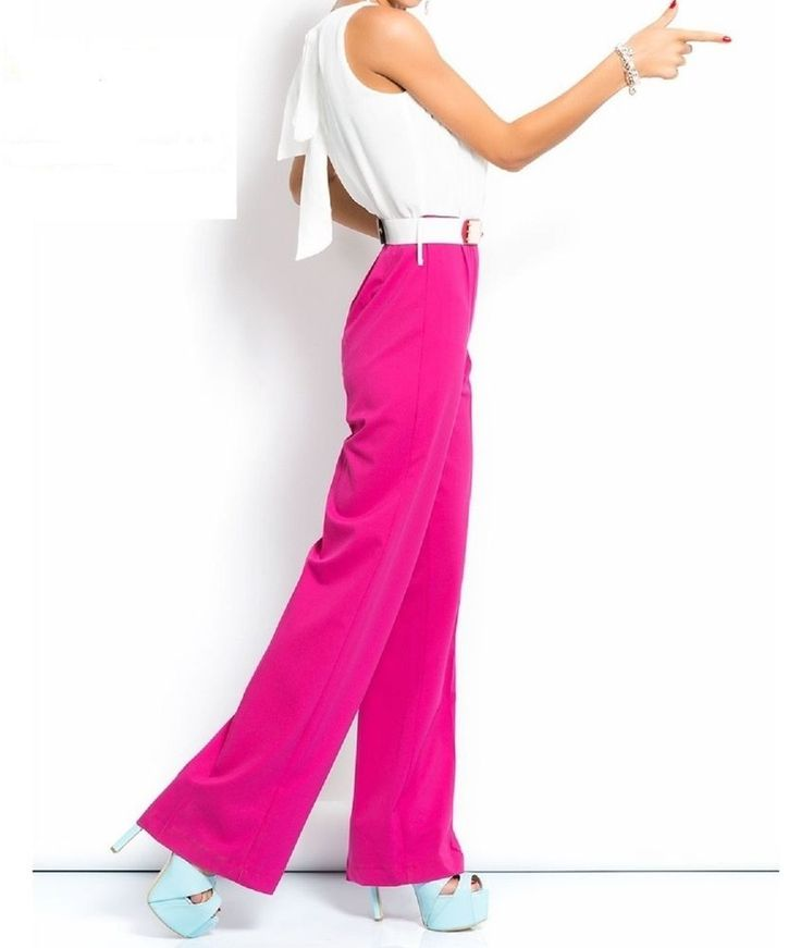 OVERALL JUMPSUIT lang pink Fuchsie Cream Playsuit Hosenanzug Abend Party , gr.42