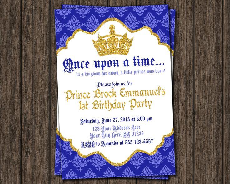 Prince Birthday Invitation - First Birthday Invitations - Royal Blue 1st Birthday Invitation by PuggyPrints on Etsy