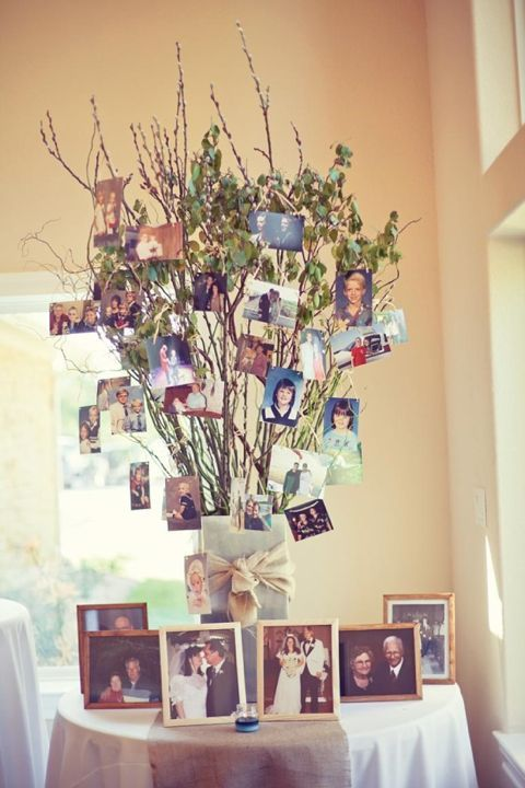 Display family wedding photos and other memorable pictures at the wedding reception so guests can enjoy seeing the couple's family history