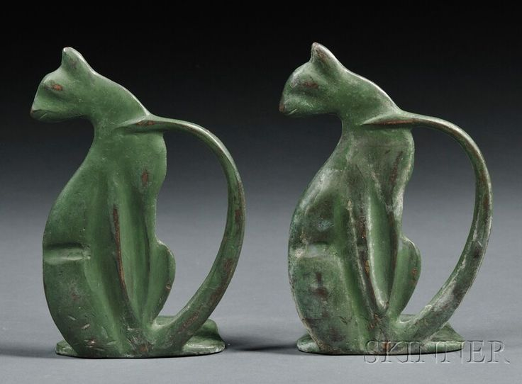 Pair of Art Deco Cat Bookends  Stylized cat-form bookends in green painted metal, ht. 6 1/2 in.