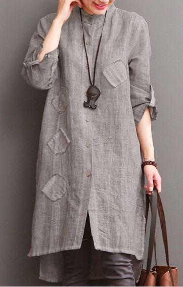 Gray cotton dress for summer pockets patchwork shirt sundress