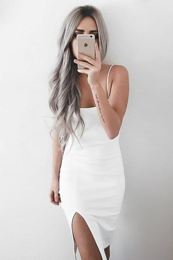 The Don't Let Me Down White Bodycon Dress will always be there for all your party needs! Medium-weight stretch knit shapes a square neckline and spaghetti straps. Darted bodice tops a sleek bodycon skirt with a sexy side slit. As Seen On Emily of @emilyrosehannon!