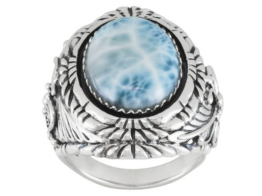 Oval Cabochon Larimar Sterling Silver Solitaire Gents Ring