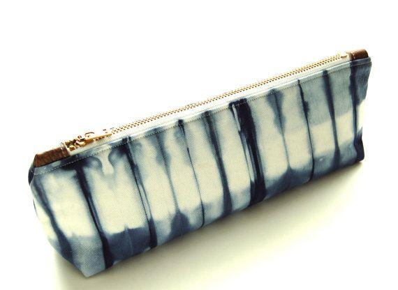 100% Organic Cotton Shibori Clutch - Navy Shibori Clutch