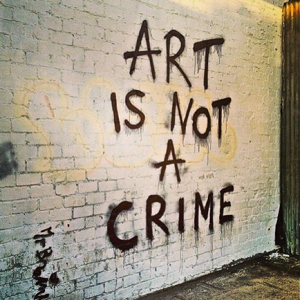 This ironic display of graffiti depicts a stance taken by an artist who refuses to accept that graffiti is a criminal act. Author: Ecko Unlt. brand. Source: Instagram