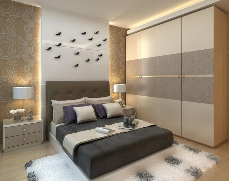 Getting Proper Wardrobe Design to Make One on Your Bedroom : Entrancing Wall Wardrobe Design Ideas With Reccessed Lighting Decoration Also Modern Queen Sized Bed And White Rugs