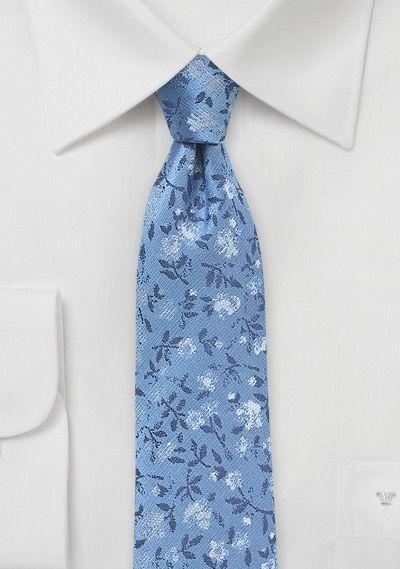 Krawatte schmal geformt stahlblau Blumen