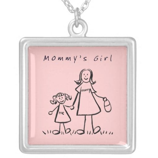"""Mommy's Little Girl Necklace Charm Pendant  Mother and daughter hold hands below text """"Mommy's Girl"""". The mother's shirt read """"mommy"""" and the daughter's shirt reads """"me"""". This image also comes in another option without the text """"Mommy's Girl"""" so you can personalize with your own names! It also comes in color options of blond or brunette too. Make special personalized Mother's Day gifts with your own text and images using the """"Customize It"""" option for unique Mommy's Girl family gifts!"""