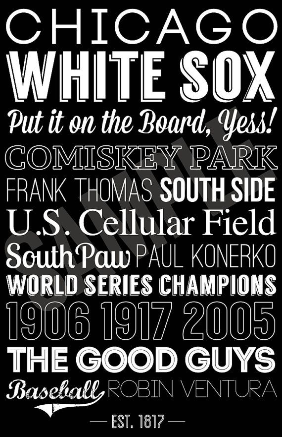Chicago White Sox Art - Canvas or Poster - Fathers Day Gift