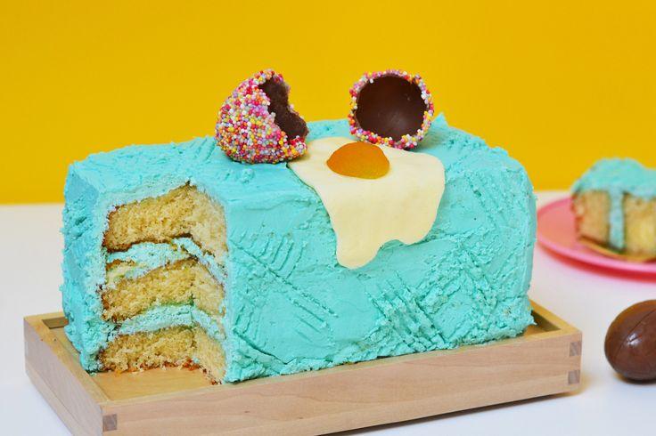 Colourful Broken Easter Egg Cake Recipe