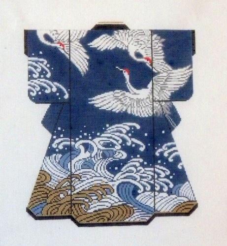 Exclusive Lee Cranes Over The Waves Kimono Handpainted HP Needlepoint Canvas   eBay