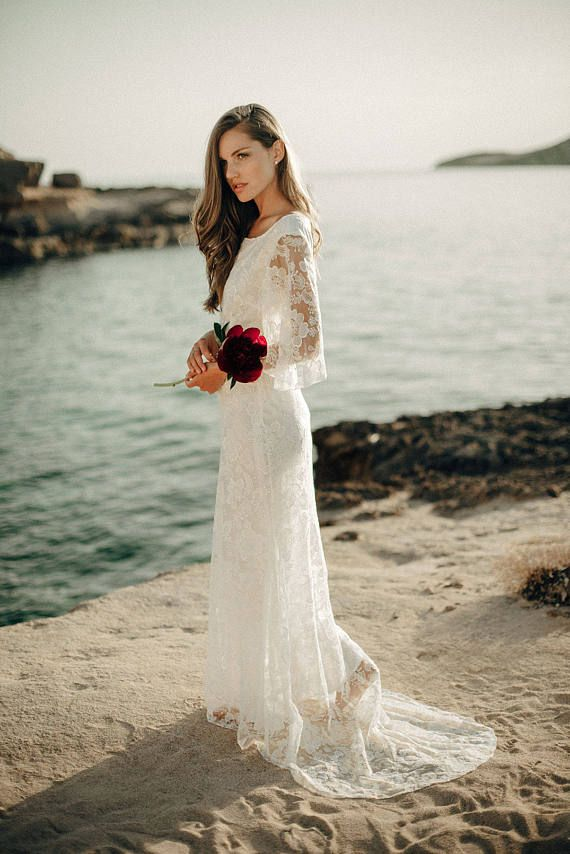 Camellia boho wedding dress - embroidered tulle lace fabric, and lined with either organic bamboo silk or organic peace silk, the choice is yours.