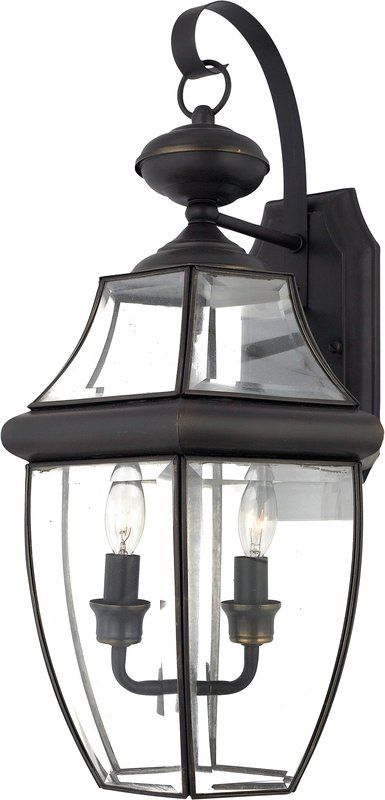 Quoizel lighting newbury 2 light outdoor wall lantern in medici bronze