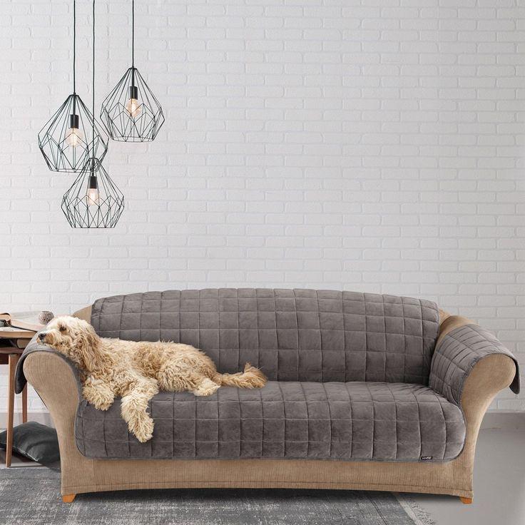 sure fit deluxe dark grey pet sofa cover dark grey brown polyester