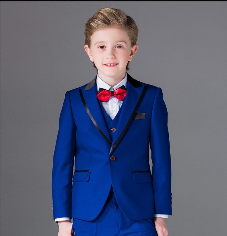 ==> [Free Shipping] Buy Best One Button Boy Tuxedos Peak Lapel Children Suit Royal Blue/Red/Black Kid Wedding/Prom Suits (JacketVestPantsTie Shirt) NH10 Online with LOWEST Price | 32727068881