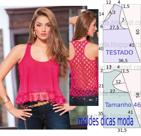 Analise de forma detalhada o desenhe do molde de blusa rosa. Blusa com encaixe…