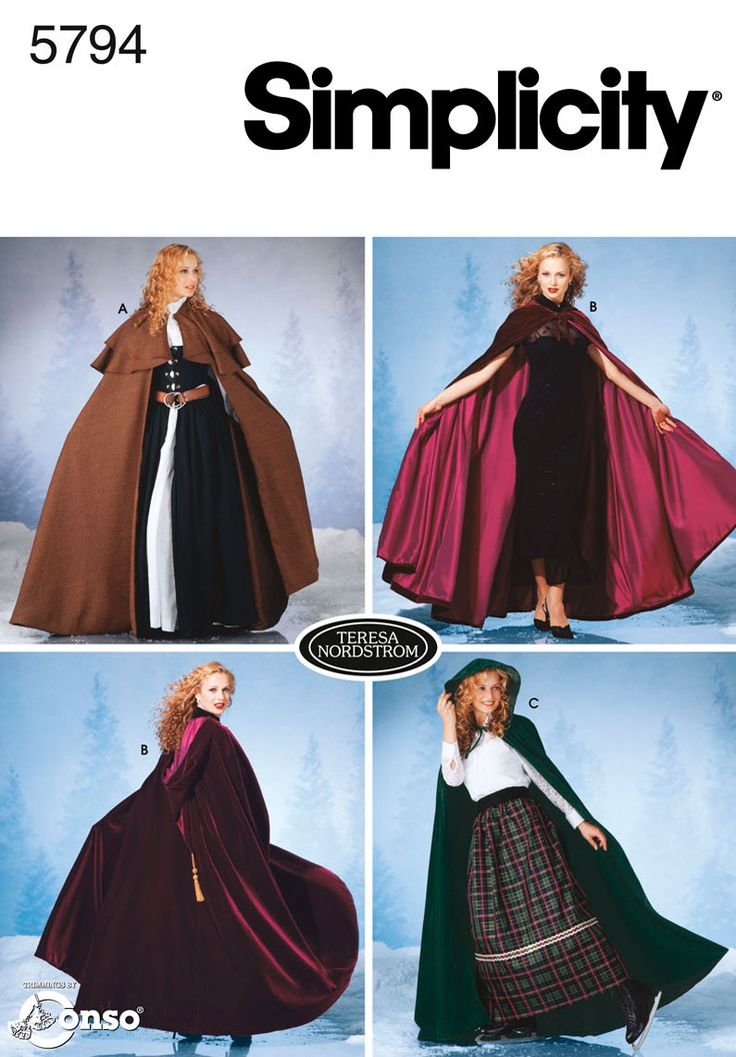 Womens Capes Costume Sewing Pattern 5794 Simplicity