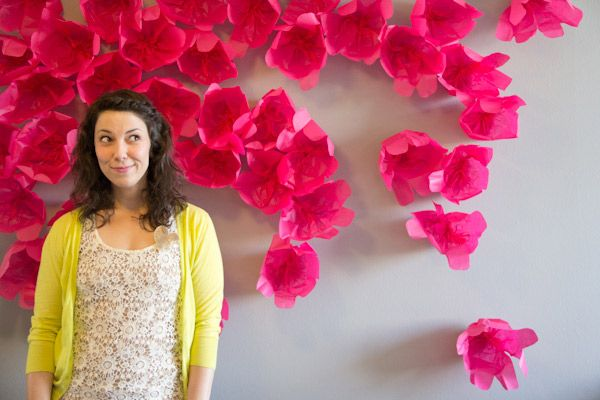 DIY Flower Wall: This is designed for picture backdrops, but it would be cute as part of a spring bulletin board in your dorm room.