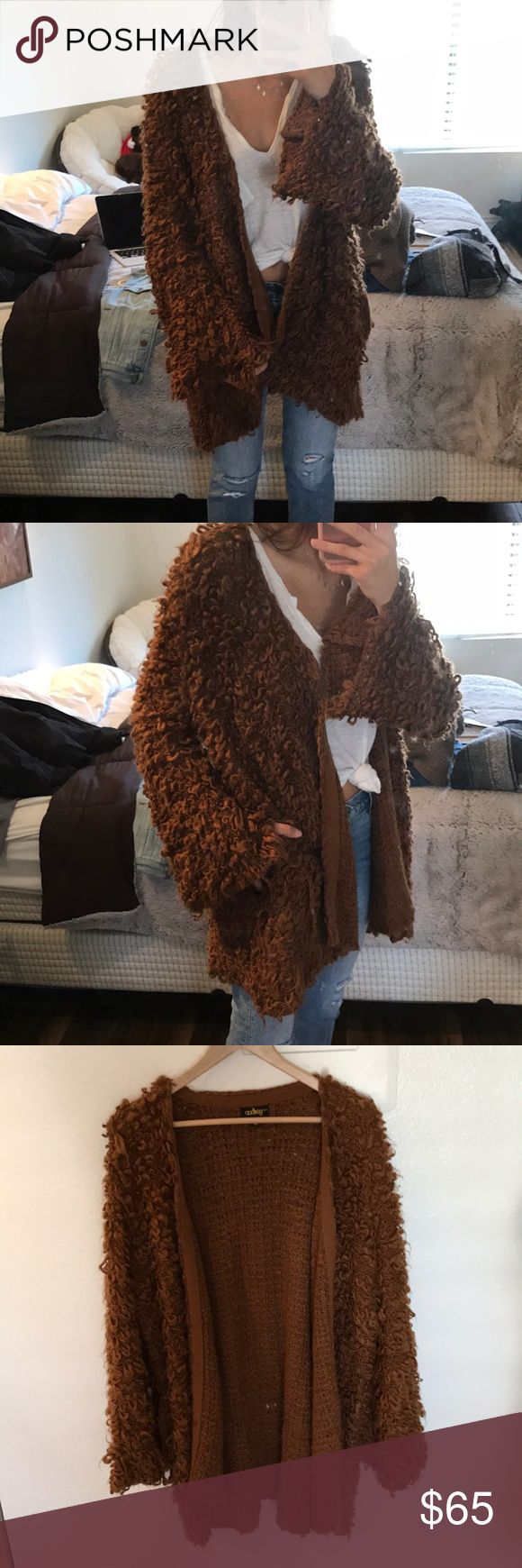 Brown shag coat/cardigan with pockets! Super soft shag cardigan by Audrey 3 + 1 A lot like the free people shag cardigan! Free People Sweaters Cardigans