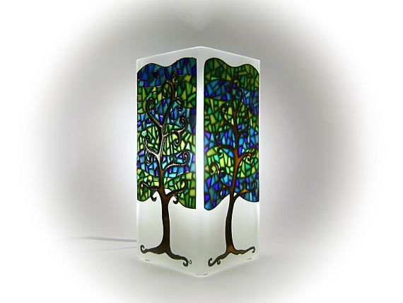 Mosaic Tree Mood Light Blue and Green Lamp Shade Modern Art
