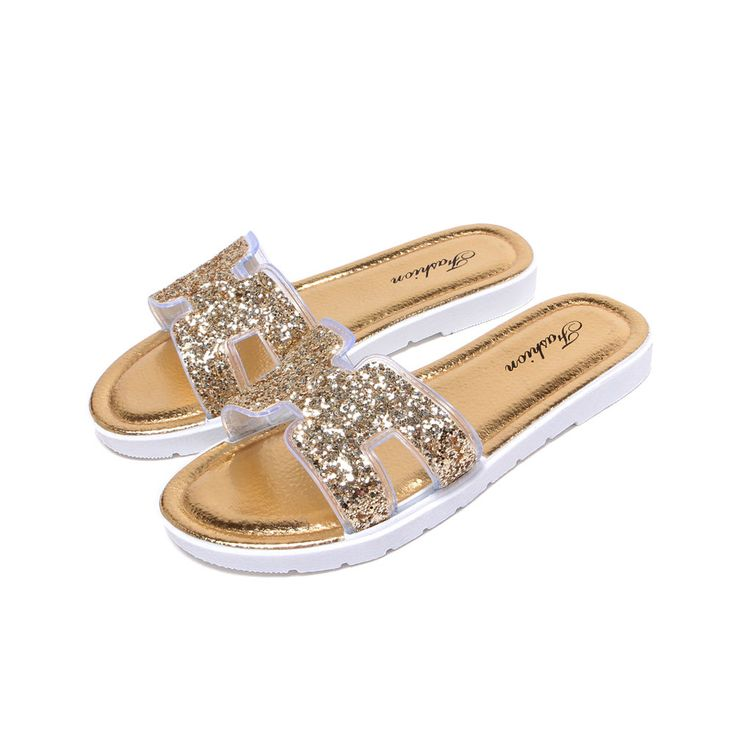 Blingbling Women'S Mules Sequins Flat Beach Casual Slippers Sand Sandals Shoes
