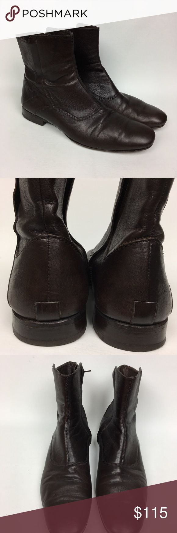 Reiss Sz 9/42 Brown Leather Zip Booties Men's Pre owned condition, some scuffs, see the last picture for details. Reiss Shoes Boots
