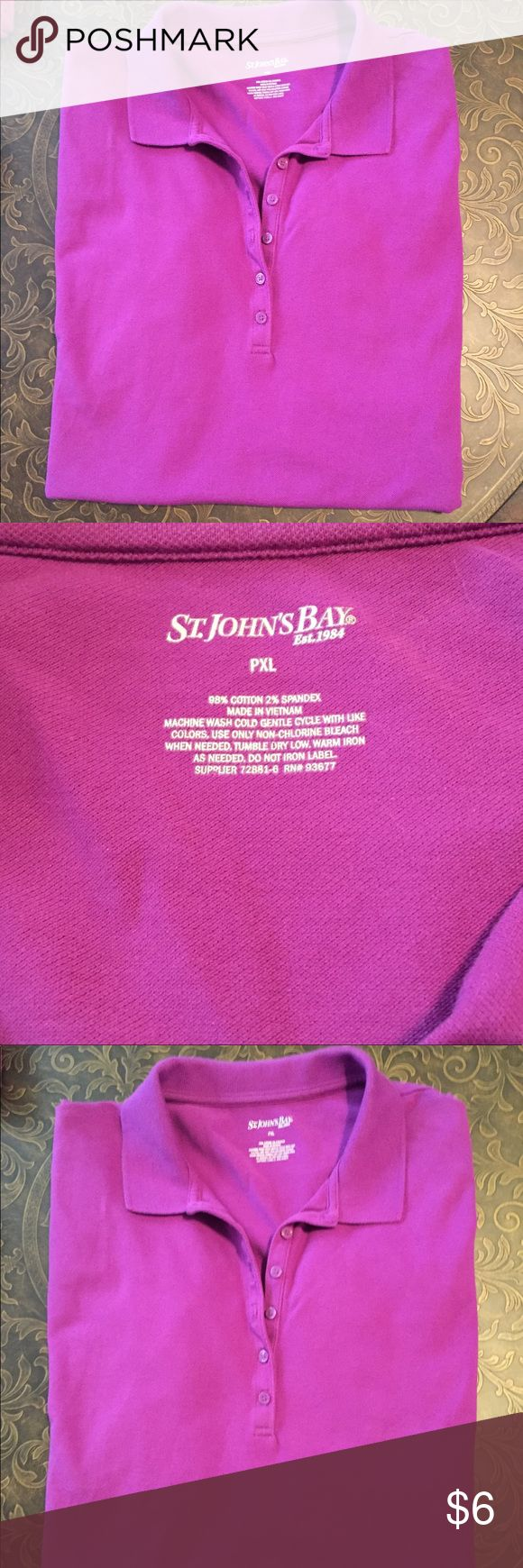 Plum Purple Polo Shirt Purple short sleeve polo shirt. Great everyday shirt made of 98% Cotton 2% Spandex. In good condition- perfect item to bundle & save! St. John's Bay Tops Tees - Short Sleeve