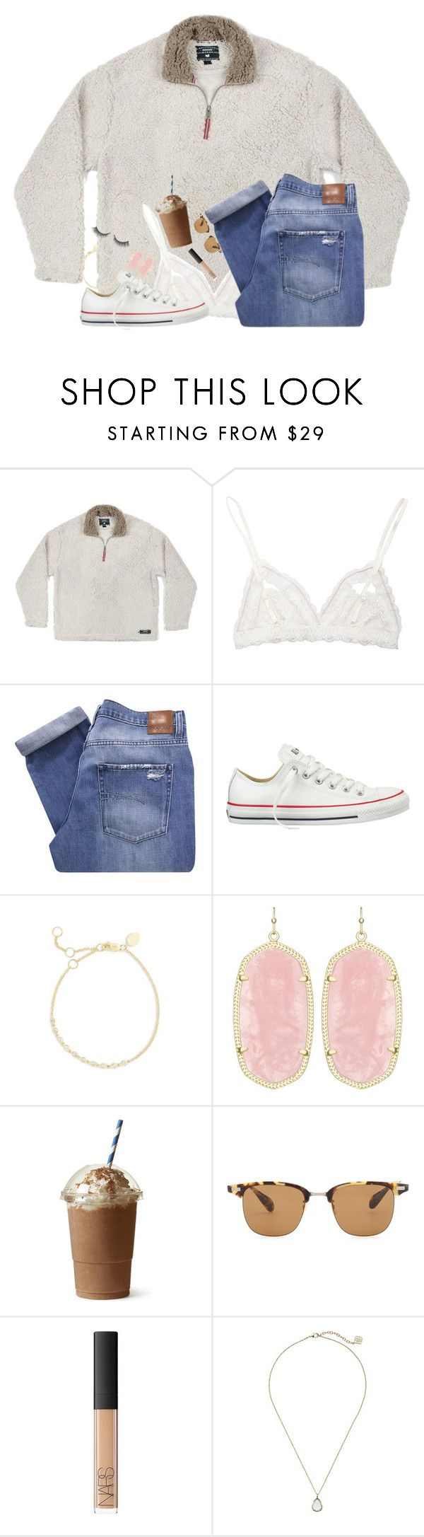 """""""When you think it's fall, but then it turns back to summer..."""" by erinlmarkel ❤ liked on Polyvore featuring Hanky Panky, Nobody Denim, Converse, Meira T, Kendra Scott, Oliver Peoples, NARS Cosmetics and Rimini"""