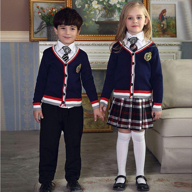 Spring Autumn fashionable korean british school uniform for girls&boys primary school kids tracksuit children clothing set