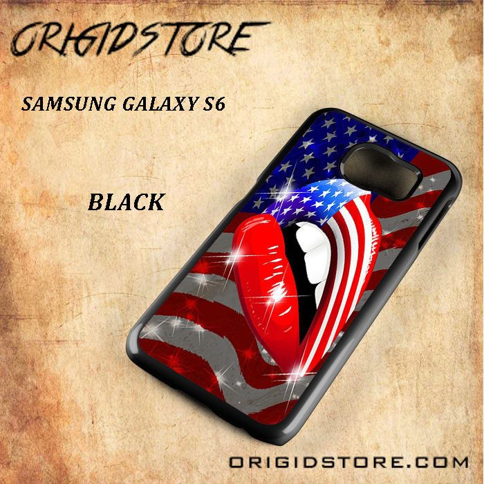 USA Flag Lipstick Lips Snap On Samsung Galaxy S6 Case 3D Samsung Galaxy S6 Case Transparent Case