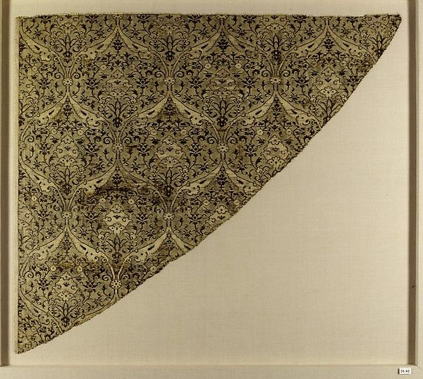Textile Fragment Object Name: Fragment Date: late 15th century Geography: Iran Culture: Islamic Medium: Silk, metal wrapped thread; lampas Dimensions: Textile: L. 17 3/4 in. (45.1 cm) W. 20 1/2 in. (52.1 cm) Mount: L. 23 in. (58.4 cm) W. 25 1/2 in. (64.8 cm) D. 7/8 in. (2.2 cm) Wt. 8 lbs. (3.6 kg) Classification: Textiles-Woven