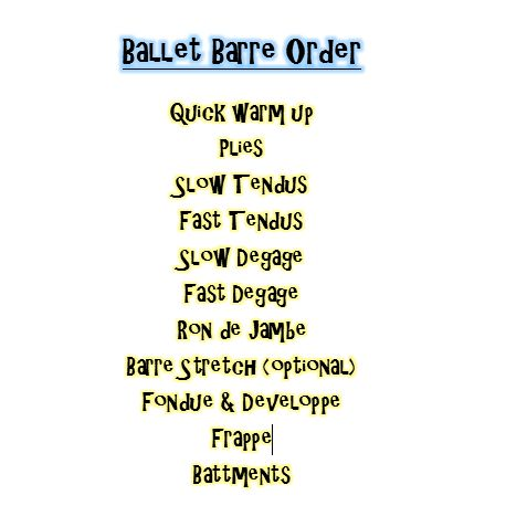 Order of Barre Exercises for ballet class.
