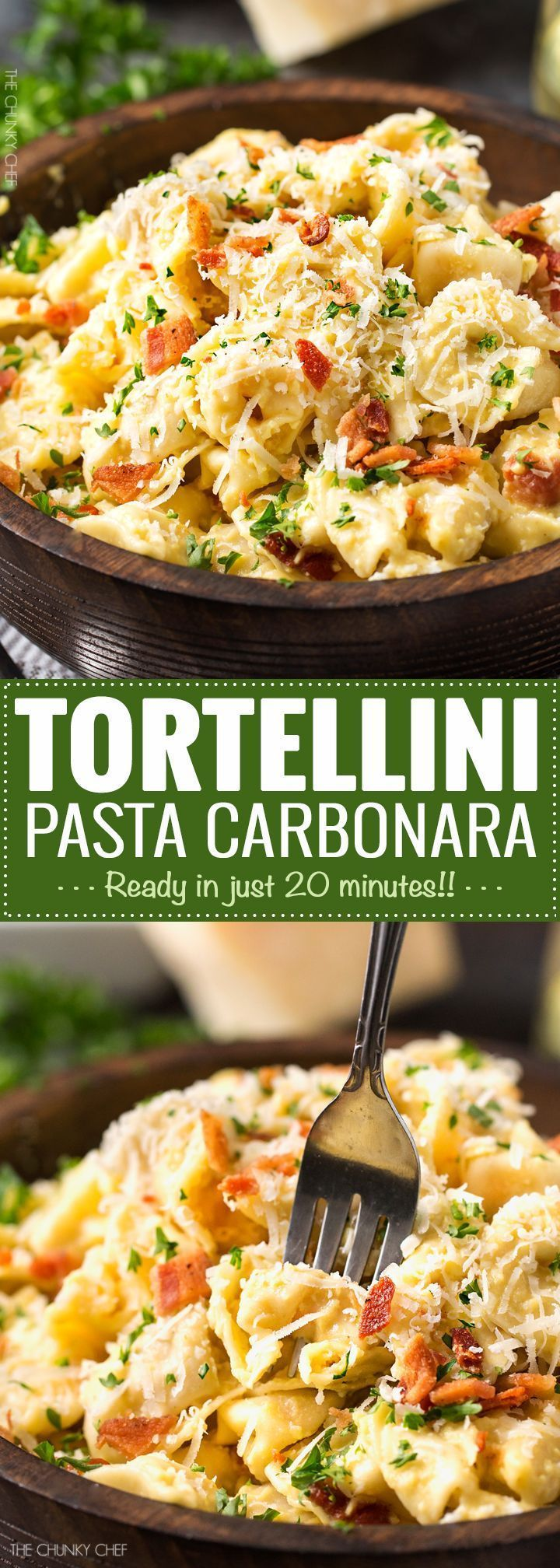 20 Minute Tortellini Pasta Carbonara   Cheese tortellini pasta is coated in a rich carbonara sauce, sprinkled with bacon and Parmesan cheese. It's the perfect weeknight dinner!   http://thechunkychef.com