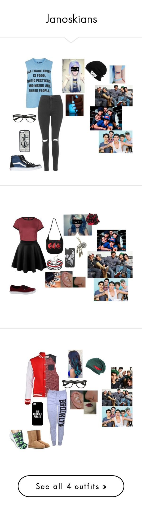 """Janoskians"" by emolover2002 on Polyvore featuring Topshop, Vans, CellPowerCases, LE3NO, Alessandra Rich, Hollister Co., Living Royal, UGG Australia, Casetify and J Brand"
