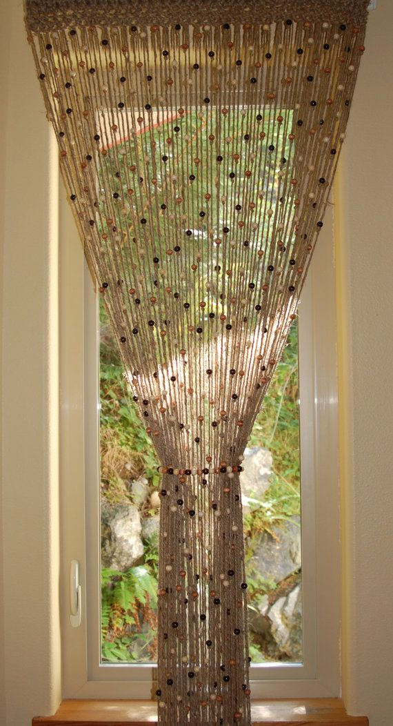 Perfect for bathroom window Kitchen door   Natural Jute crochet curtain door or window with by MountBlossom